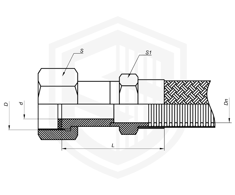 Металлорукав с гайкой Г36 (DKF, российский стандарт)
