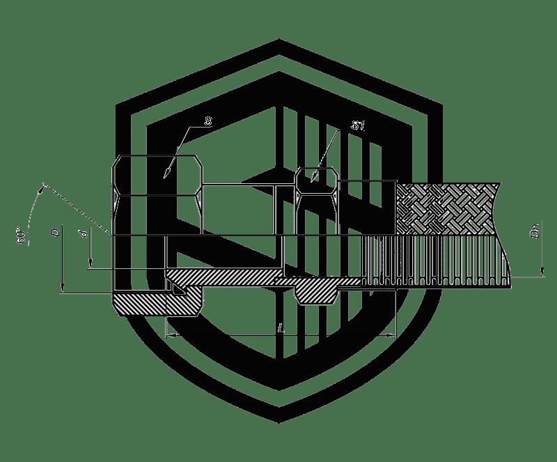 Металлорукав с гайкой BSP (английский трубный стандарт)