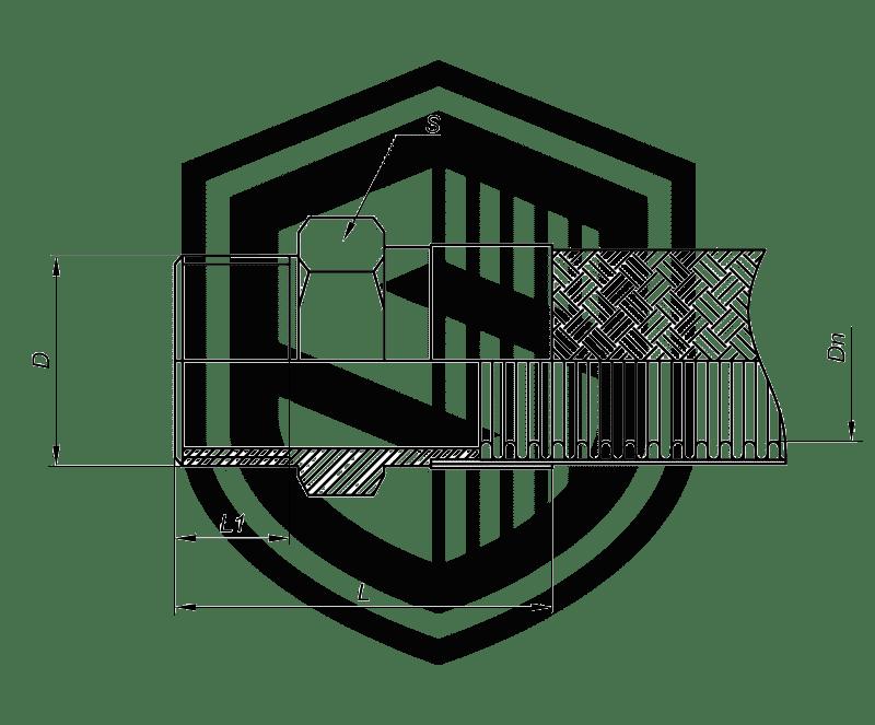 Металлорукав со штуцером Н36 (DKF, российский стандарт)