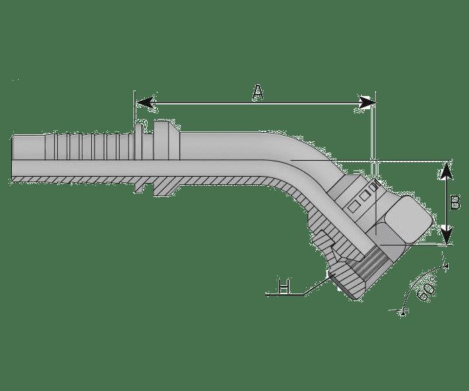 Фитинг BSP: английский трубный стандарт, 45° с кримпованной гайкой