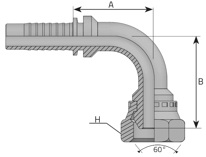 Фитинг BSP: английский трубный стандарт, 90° с кримпованной гайкой