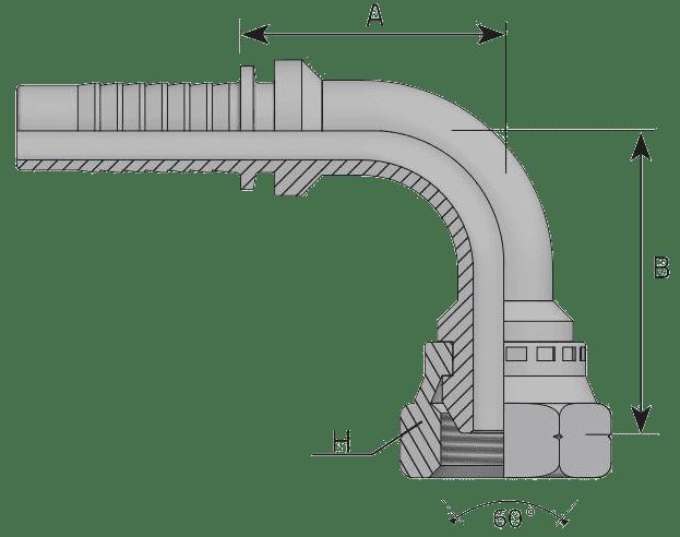 Фитинг DK: российский стандарт, 90° с кримпованной гайкой