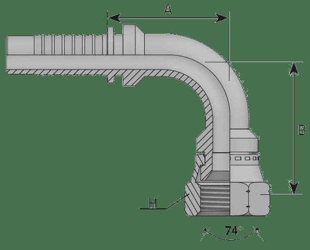 Фитинг JIC: американский стандарт, 90° с кримпованной гайкой