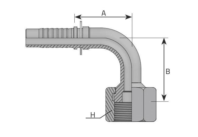 Фитинг ORFS: американский стандарт, 90° с накидной гайкой