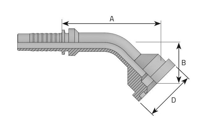 Фитинг SF-L: американский стандарт, облегченная серия, 45°