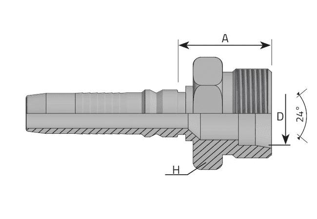Фитинг INTERLOCK DKOS: немецкий стандарт, усиленная серия, прямой штуцер