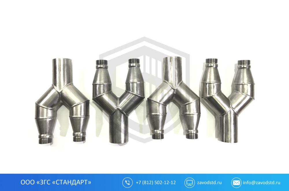 тройник стальной нержавеющий, разветвитель для металлорукава, разветвитель металлорукава