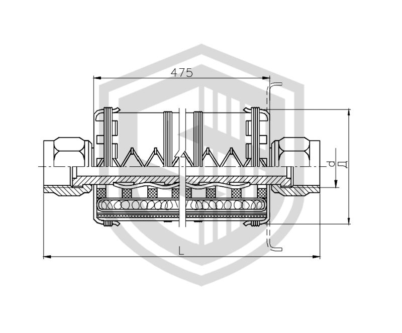 Соединение рукавное штуцерное с огнезащитной изоляцией Dу 10…32